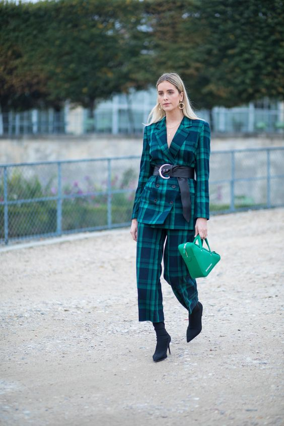 green blazer plaid pantsuit