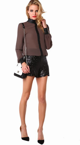 green chiffon blouse black sequin shorts