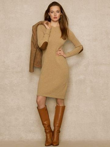 green elbow patch knee length sweater dress