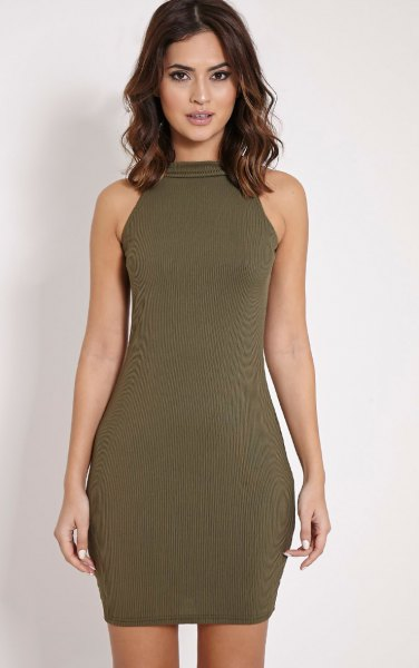 green halter neck mini ribbed sweater dress