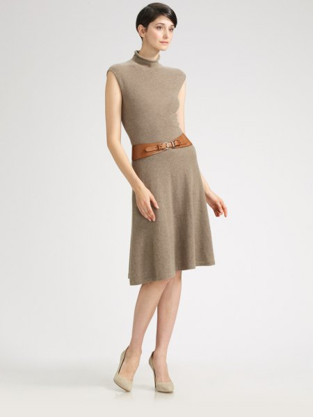 green mock neck belted flared cashmere dress