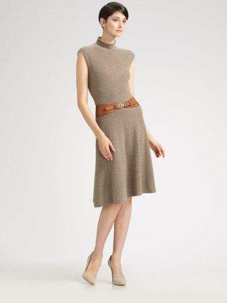 green mock neck belted flared cashmere dress