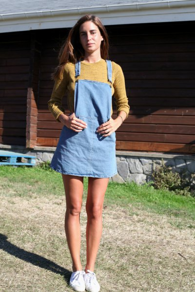 green ribbed knit sweater light blue denim overall dress