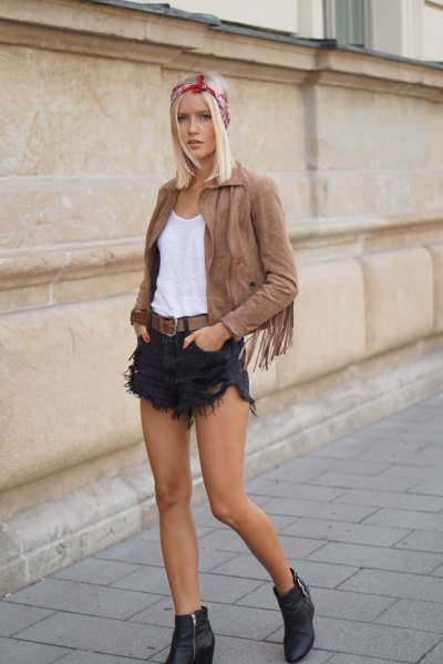 green suede jacket black fringe denim shorts