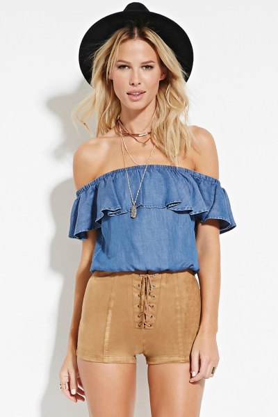 green suede shorts blue chambray off shoulder blouse