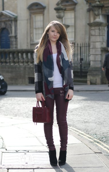 grey and white wool blazer burgundy jeans
