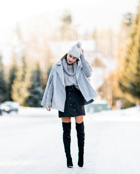 grey cape coat matching cable knit sweater mini skirt
