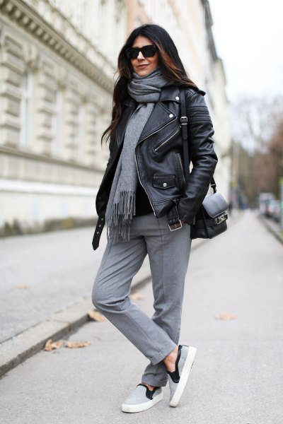 grey cashmere scarf black leather jacket