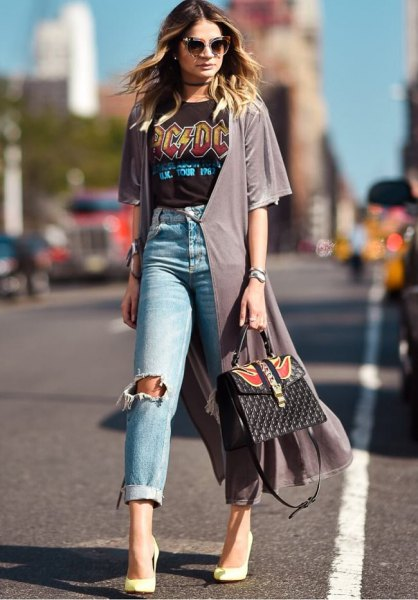 grey chiffon shrug ripped boyfriend jeans