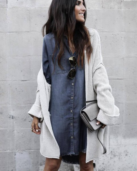 grey denim shirt dress with white ribbed long cardigan