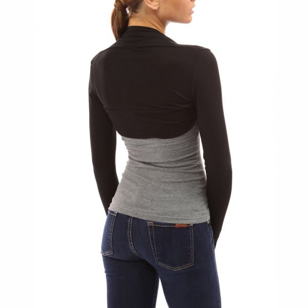 grey form fitting tee black bolero jacket