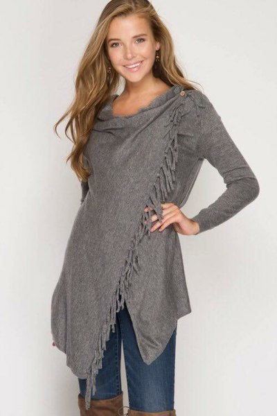 grey fringe cashmere wrap thigh high leather boots