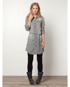 grey gathered waist shirt dress leggings boots