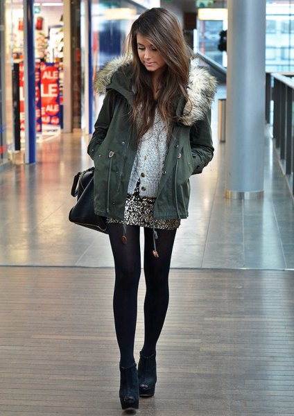 grey jacket white cardigan silver sequin mini skirt