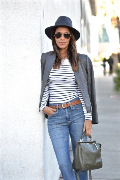 grey leather jacket navy and white striped long sleeve tee