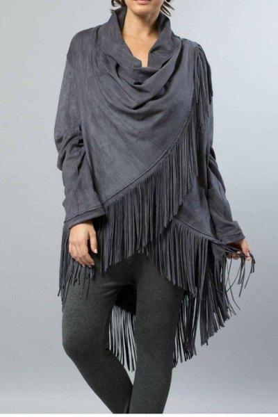 grey linen fringe wrap cotton leggings