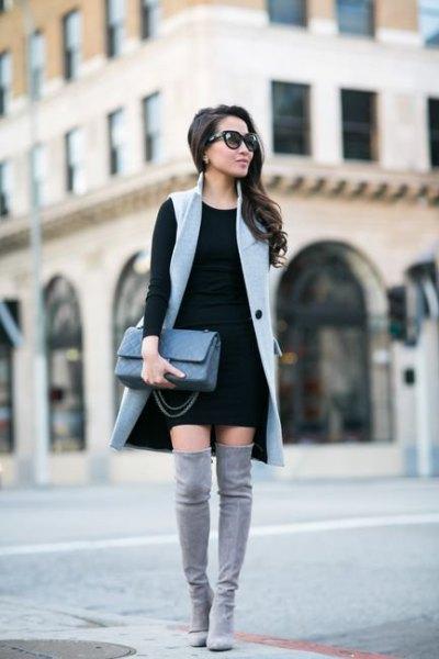 grey long sleeveless vest black shift dress