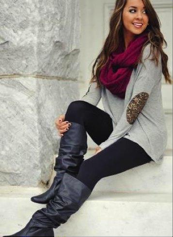 grey long sweater burgundy scarf