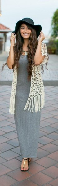 grey maxi dress white crochet lace vest