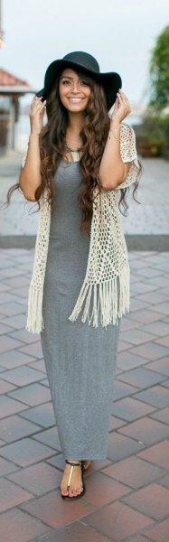 grey maxi dress white crochet lace vest