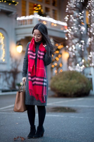 grey maxi sweater dress red scarf