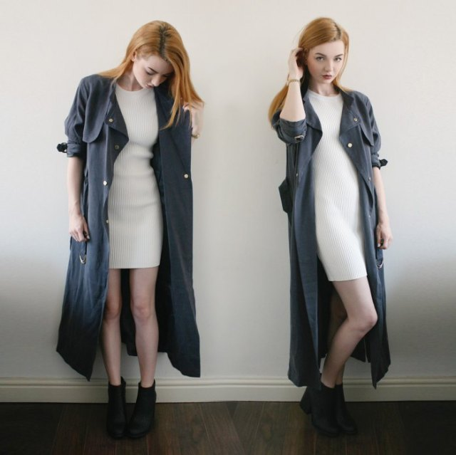grey maxi trench coat white ribbed mini sweater dress