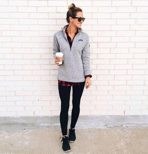 grey pullover black and red plaid boyfriend shirt