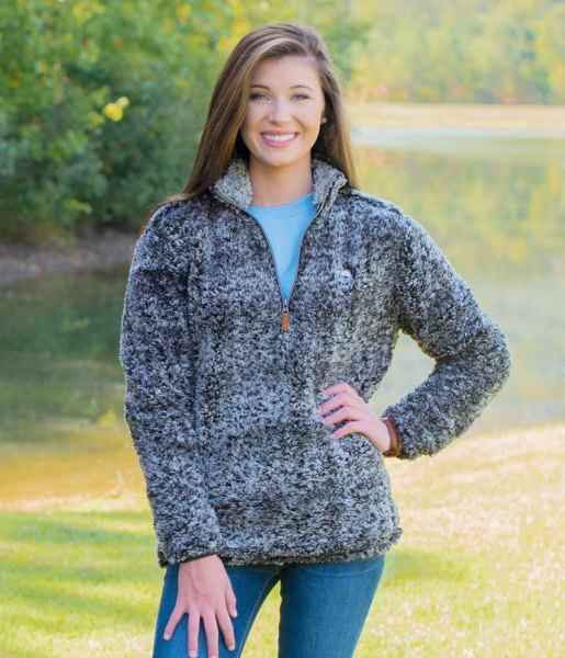 grey teddy pullover blue jeans