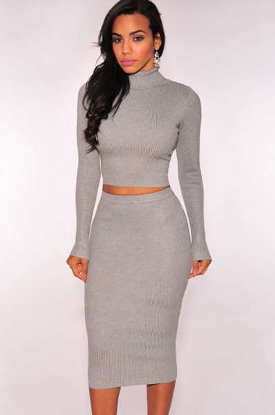 grey turtleneck two piece midi sweater dress