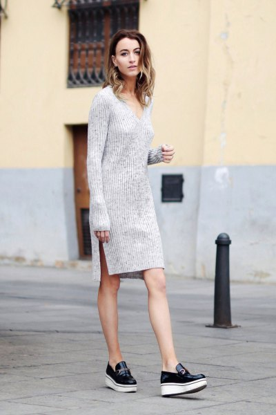 grey v neck long sleeve mini sweater dress with slit