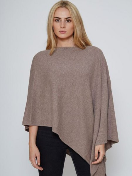 grey wool poncho all black outfit