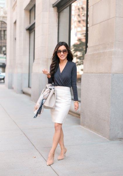 grey wrap cardigan black pencil skirt