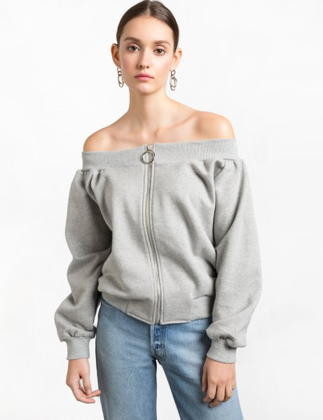 grey zip front off the shoulder sweatshirt