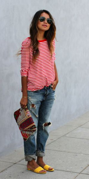 half sleeve red and white striped t shirt ripped boyfriend jeans