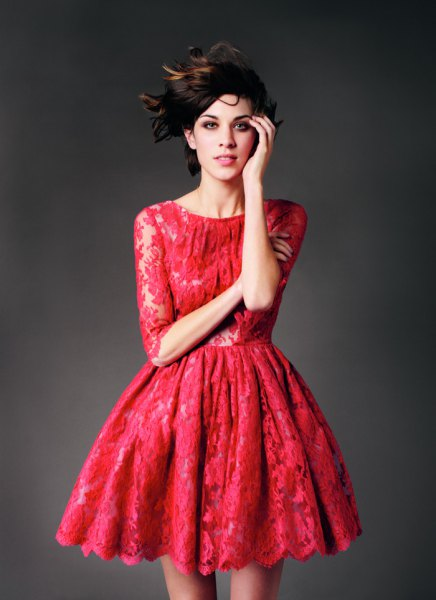half sleeve red skater lace dress