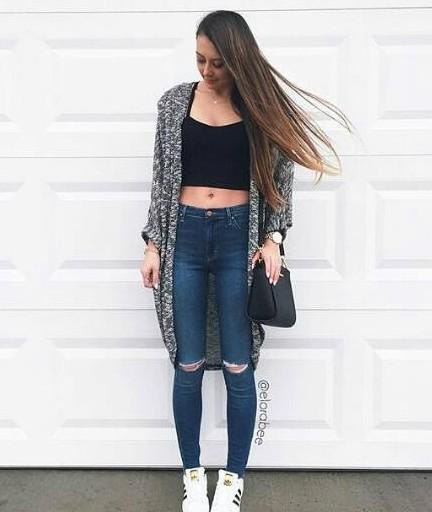 heather grey shrug dark blue ripped skinny jeans