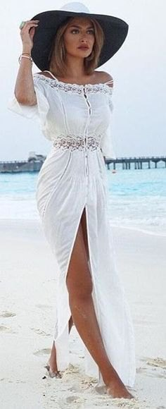 high split maxi white beach dress with hat
