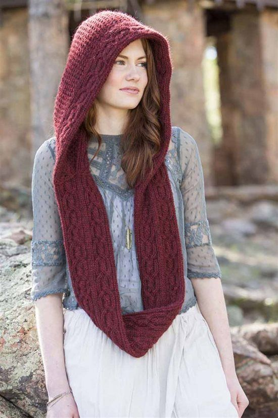 hooded scarf burgundy