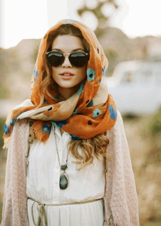hooded scarf floral