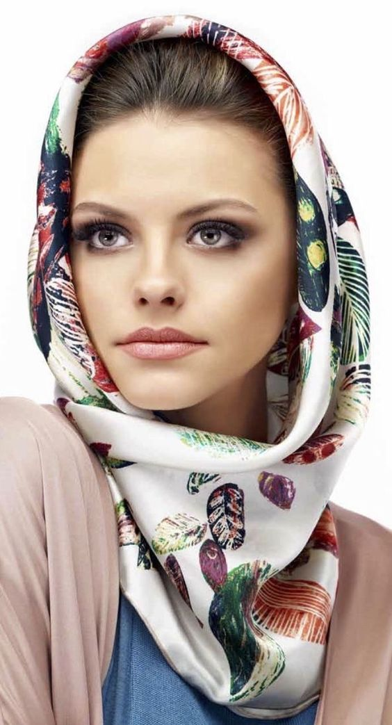 hooded scarf silk printed