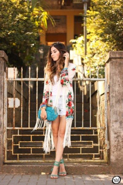 ivory floral fringe kimono light blue denim shorts