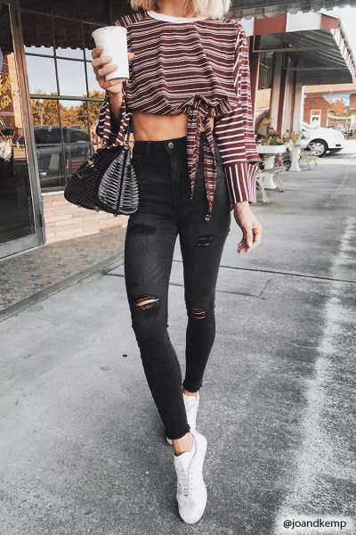knotted striped long sleeve tee black ripped skinny ankle jeans