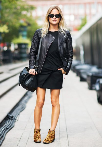 leopard print ankle boots leather jacket shift dress