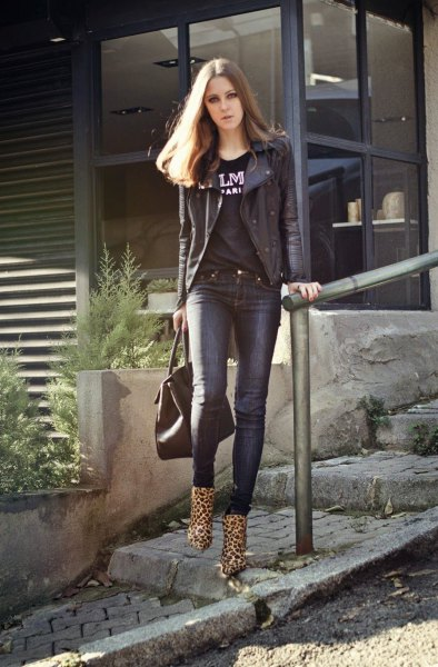 leopard print ankle bots black moto jacket print tee