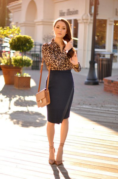 leopard print blouse high waisted black bodycon wrap skirt