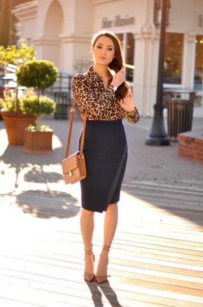 leopard print blouse high waisted black bodycon wrap skirt