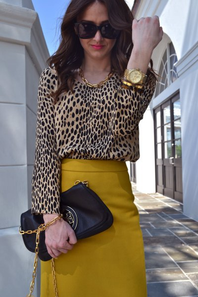 leopard print blouse high waisted mustard yellow midi skirt