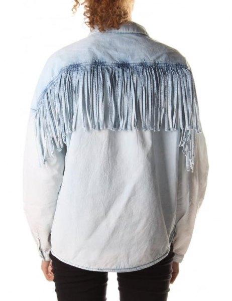 light blue chambray fringe shirt jeans