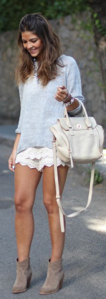 light blue chambray pullover white crochet shorts