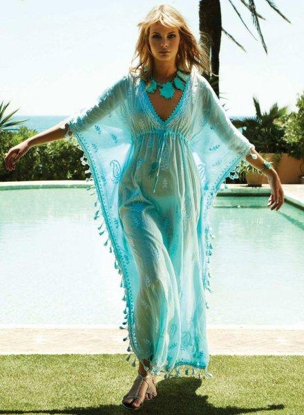 light blue chiffon maxi cover up dress